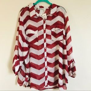 Slimming 3X Chevron semi sheer blouse NWT